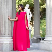 2016 einfachen Stil Stieg Formalen Kleid Scoop Flügelärmeln Bodenlangen Abendkleid Sleeveless Mit Wasserfallausschnitt Satin Aktivität kleid