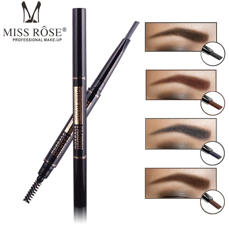 MISS ROSE brand24 Hours Long-lasting Eyebrow Pencil Double-end Waterproof Pigments Eyebrow Pencil Black Brown Color Makeup Tools