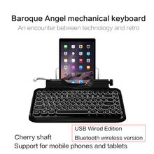 Bluetooth 83 keys Led mechanical Wireless bluetooth tablet steampunk Keyboard Gaming for phone ipad Macbook Windows Android IOS