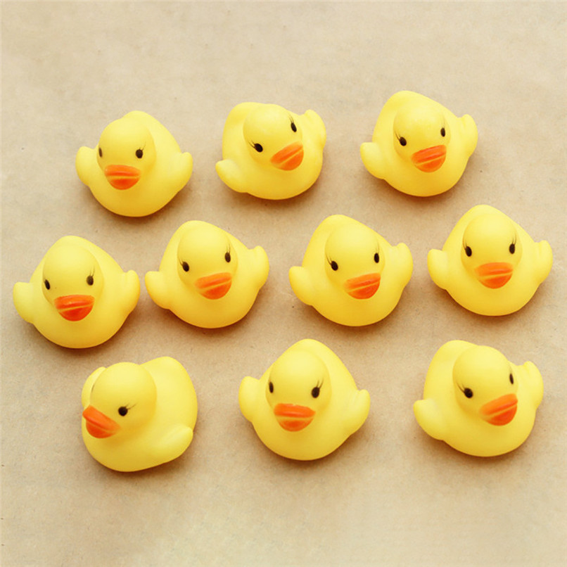 Squeeze-sounding Dabbling Toy One Dozen (10) Cartoon Rubber Duck Squeak Toy Baby Bathing Shower Toys suit for tub or pool JY06#F