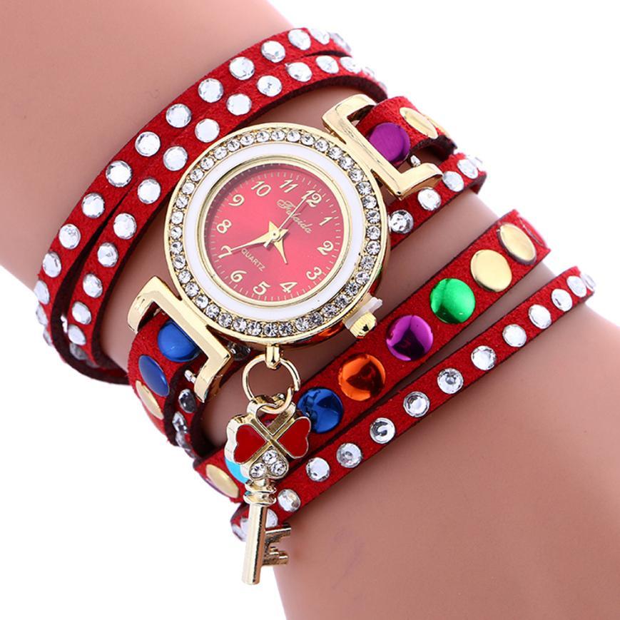 Luxury Brand Watch Women Stylish Key Pendant Leather Bracelet Quartz Wrist Watches Colorful Womens Clock Relogio Feminino July30