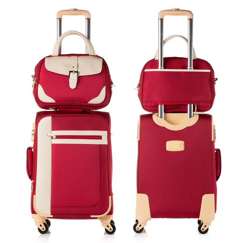 Жіноча 14 20 22 24 26 дюймів оксфорд шовкова тканина для подорожей на універсальних колесах, багажна вагонетка з прутками