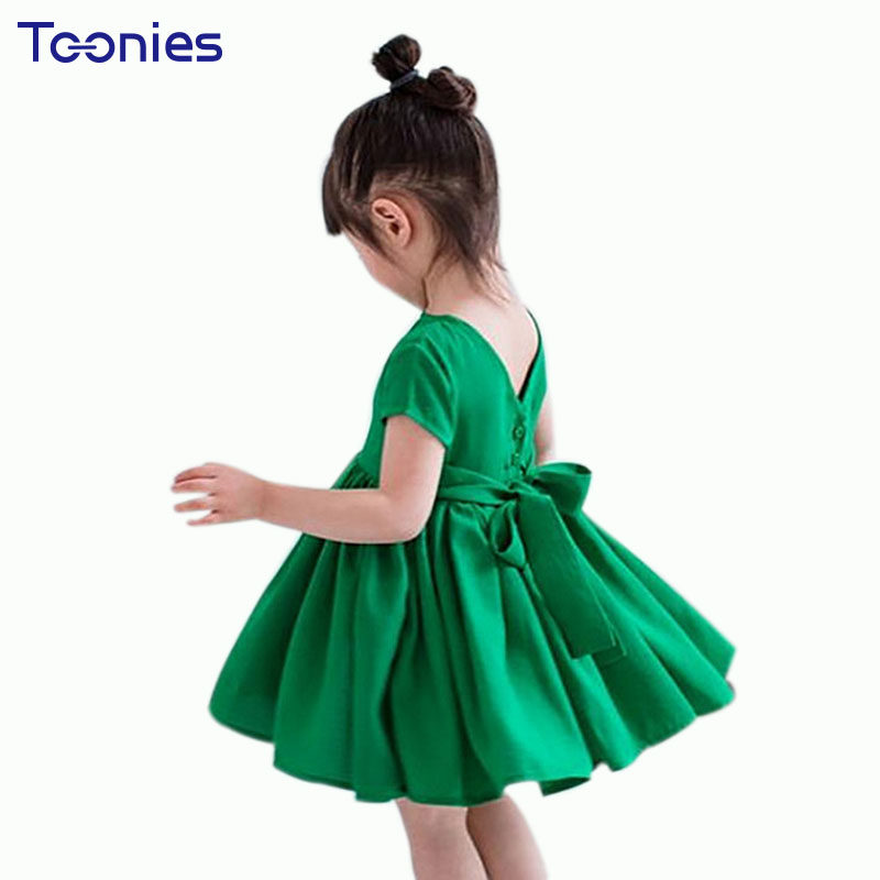 Cotton Princess Dress with Big Bow Fashion Birthday Party Dress For Girls Clothing 2018 New Summer Toddler Kids Clothes Vestido 2016 fashion summer rare editios for girls cute clothing outfits kids short sleeve bow cotton polka dot dress with pants suit