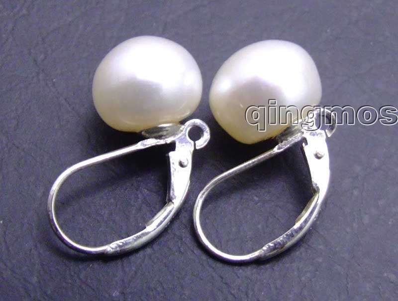 SALE Big 9-10mm white natural flat round pearl with Stering Silver 925 leverback Earring-ear370 wholesale/retail Free shipping