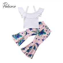 eaa545f1dfab0 2018 Brand New Toddler Infant Kid Girl Strap Off Shoulder Top+Floral Flared  Pants 2Pcs Set Outfits Children Summer Clothing 1-6T