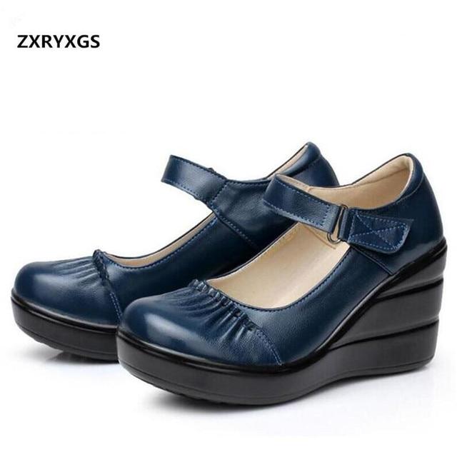 e3a699dfc ZXRYXGS sapatos de marca Mulheres Sapatos de Salto Alto 2018 Primavera  Confortáveis Sapatos de Couro Genuíno
