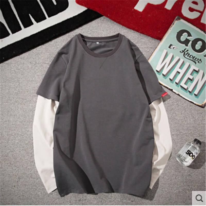 Herbst T 1 ärmeln Innen Bodenbildung Hong Trägt Lange Herren Gefälschte shirt Eine Shirt stück Zwei Kong Stil Kleine Pullover Hemd qHxd1dwO5