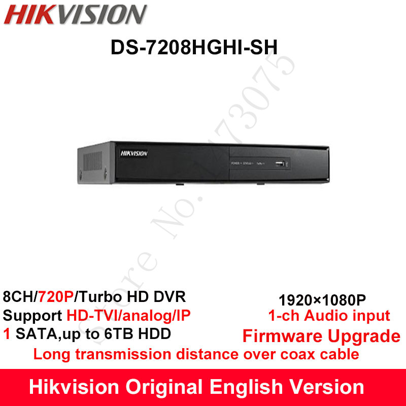 Hikvision Original English Turbo HD DVR DS 7208HGHI SH Support HD TVI Analog IP Camera 8ch