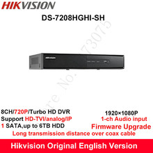 Hikvision Original English Turbo HD DVR DS-7208HGHI-SH Support HD-TVI/Analog/IP Camera 8ch 1HDD Full channel@720P real-time