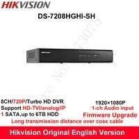 Hikvision Original English Turbo HD DVR DS 7208HGHI SH Support HD TVI Analog IP Camera 8ch