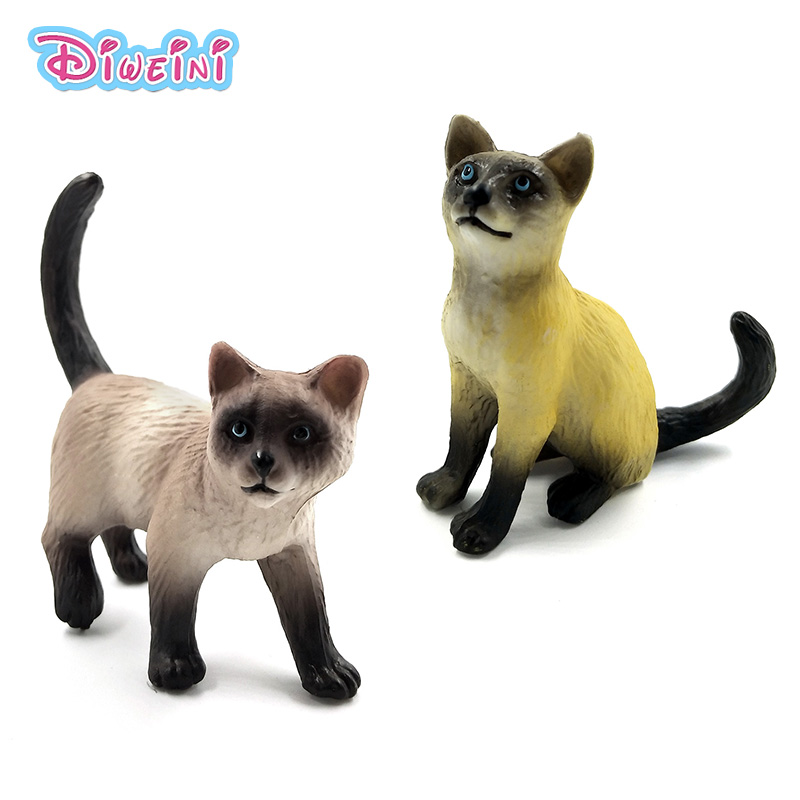 Farm Simulation Cat Mini Animal Model Small Plastic Figure Home Decor Figurine Decoration Accessories Modern Gift For Kids Toys