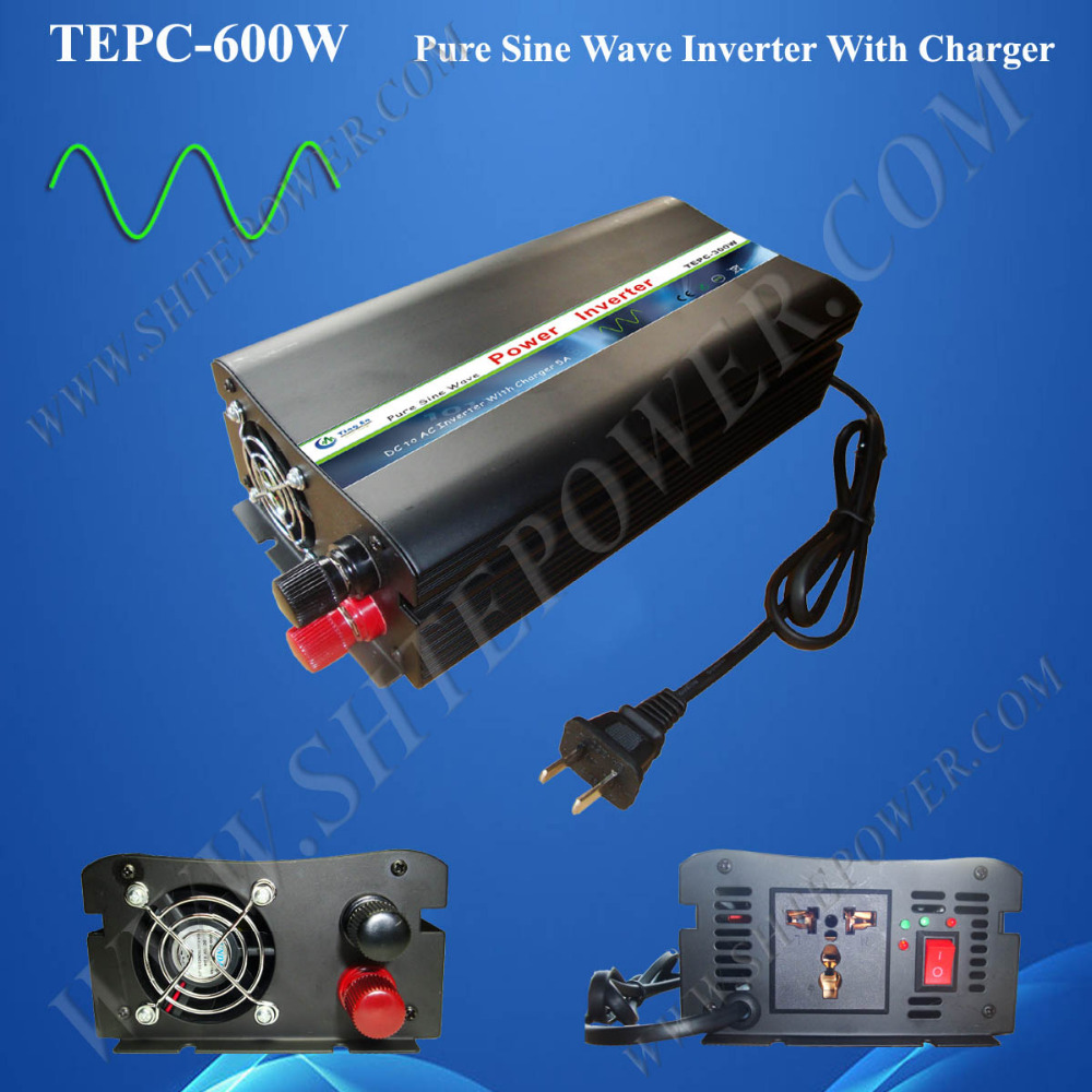 600W power inverter with charger DC 12V 24V input converter to AC output TEPC 600W Pure sine wave output 110V 220V 230V
