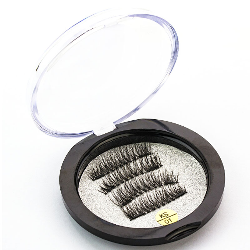 0.2mm Magnetic Lashes 6D Magnet <font><b>Eyelashes</b></font> 4 Pcs/1 <font><b>Pair</b></font> Fake <font><b>Eyelashes</b></font> extension with <font><b>2</b></font> pieces Magnet-KS01-S image