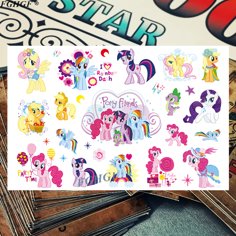 Kids Cute Three Pony Child Temporary Body Art Flash Tattoo Sticker 17*10cm Waterproof Painless Tattoo Free Shipping