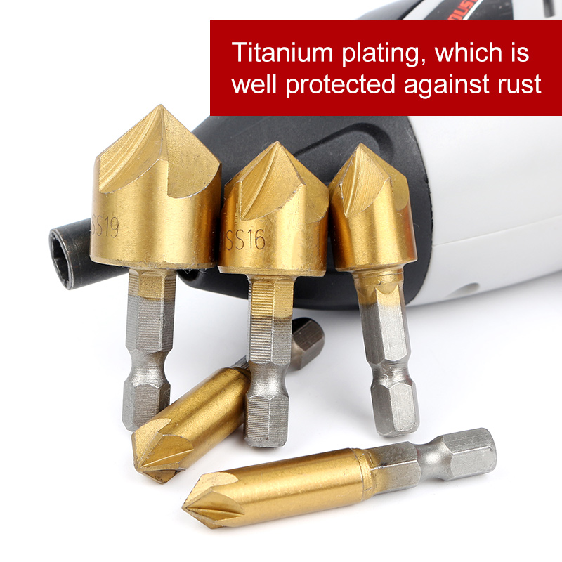 6PCS Round shank 5 Flute HSS Hard Metals natural color Five Edge Chamfer Chamfering End Mill Cutter Countersink Drill Bit