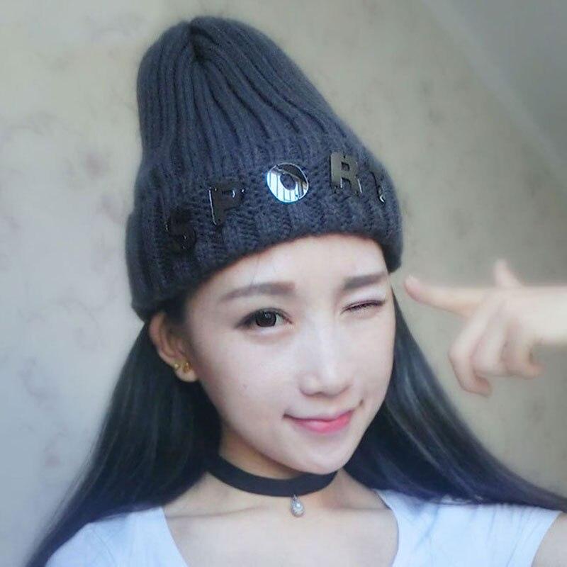 Autumn Winter Velvet Knitted Hat For Women Fashion Warm Skullies Beanies Female Cap Free Shipping