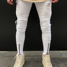 Men Jeans Stretch broken Hole Ripped Design Fashion Ankle Zi
