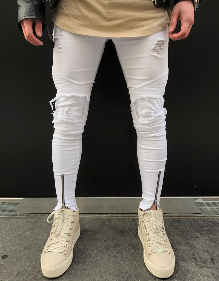 Men Jeans Stretch Broken Hole Ripped Design Fashion Ankle Zipper White Skinny Jeans For Men
