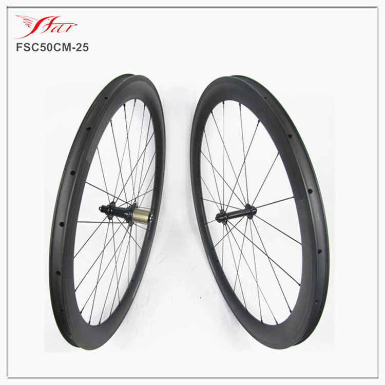 Farsports carbon clincher wheels 50mm x 25mm wide clincher rims built with Sapim cx ray spokes, High Temp resin braking track