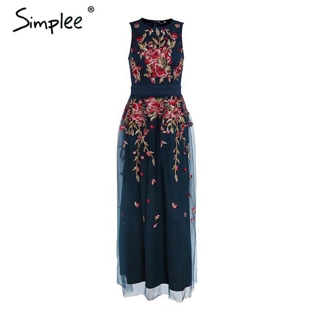 Simplee Elegant mesh overlay party dress women Stretch sleeveless