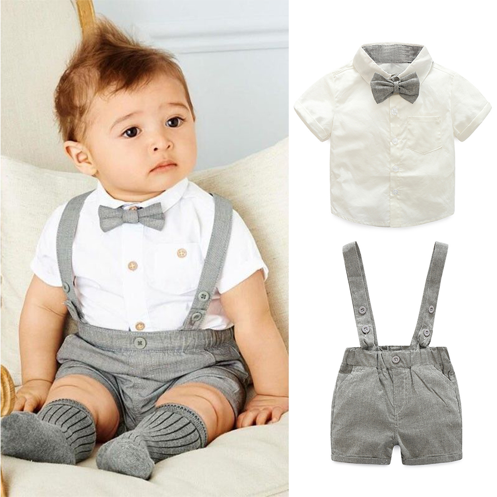 New Fashion Gentleman Style Baby Boys Formal Clothes Set White Short Sleeve T-Shirt with Bow Tie + Suspenders Short Pant Outfits new baby character dinosaur overalls white t shirt lovely baby costumes baby outfits