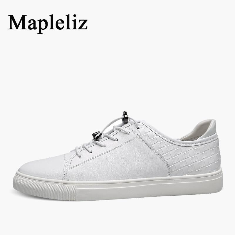 где купить  Mapleliz Brand Fashion Men White Shoes Handmade Genuine Leather Spring New Big Size Waterproof Casual Shoes for Men  по лучшей цене
