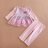Spring 2017 Baby Girl Clothes Set Infant Striped Tops Dress & Pant 2-Piece Suit Princess Flowers Toddler Kid Girls Clothing