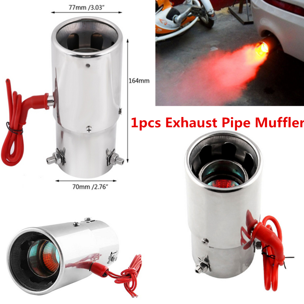 Auto Red Light Flaming Car Exhaust Pipe Stainless Steel Muffler Tip Spitfire Car LED