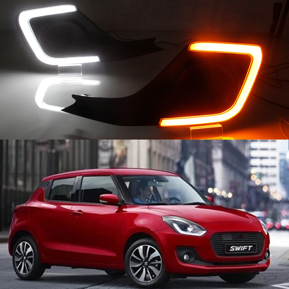 US $58 0 25% OFF|1 set car styling accessories For Suzuki Swift 2017 2018  2019 DRL Driving Daytime Running Light DRL car fog lamp yellow turn-in Car