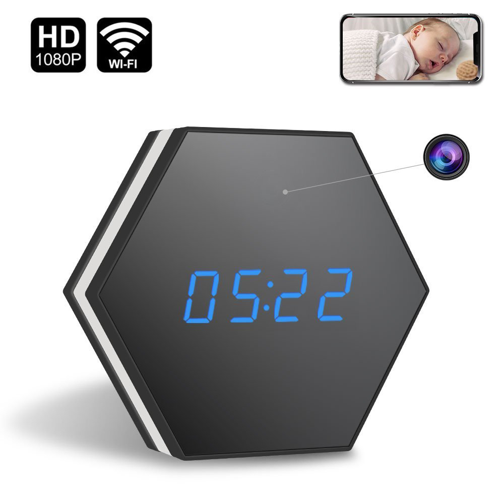 Mini Camera Clock HD 1080P WiFi Smart Mirror Clock with Night Vision Two-Way Audio Motion Detection Colorful LED light DV DVR CA led star ca 410