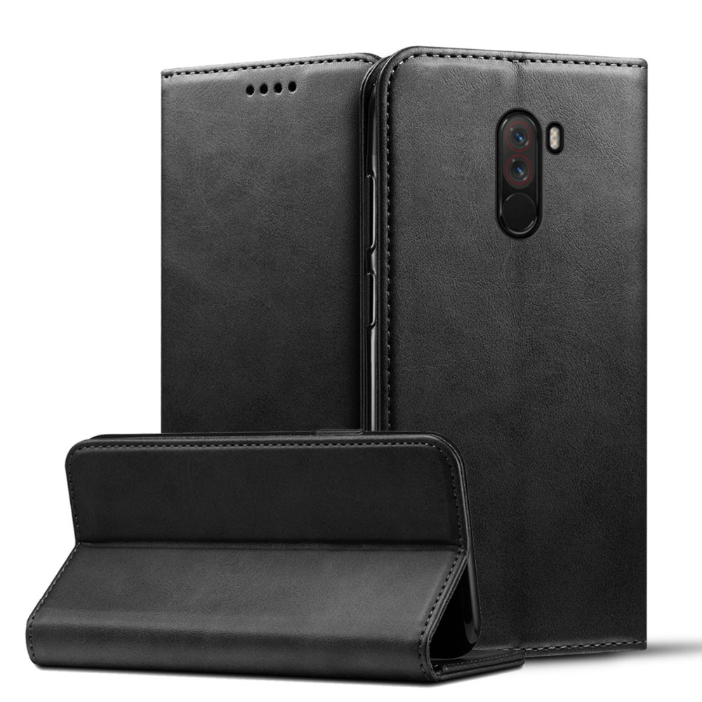 For Global Version Xiaomi POCOPHONE F1 POCO Case Flip Calf Grain PU Leather Stand Wallet Case For Pocophone F1 Cover Card Holder