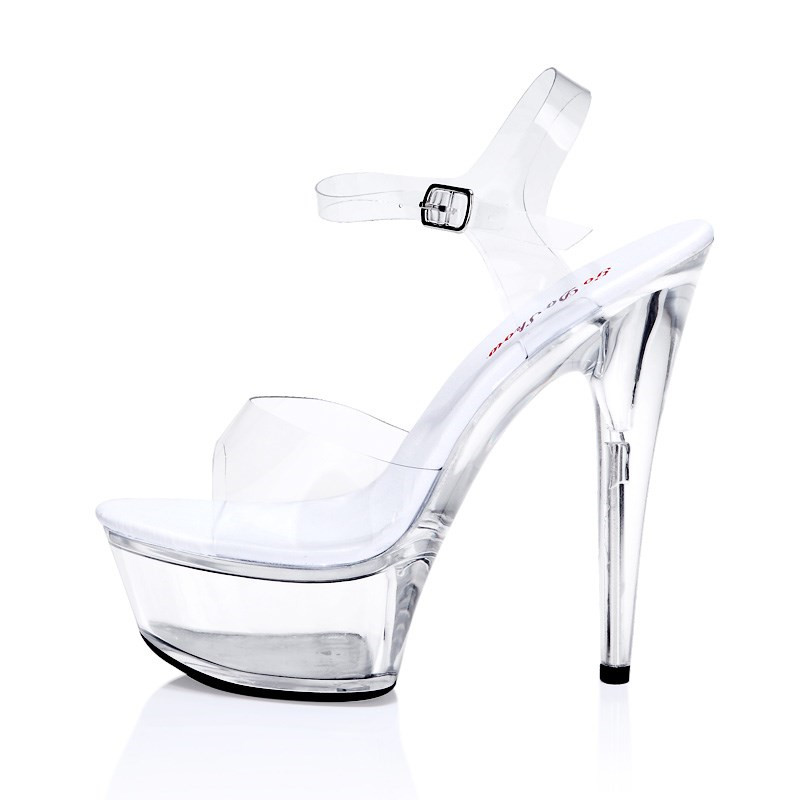 2017 sexy woman catwalk crystal shoes 15cm super high heels transparent waterproof high heel sandals Big size 34-43 2016 amoi sexy super high heels 15 cm transparent glass slipper shoes banquet fashion platform sandals red