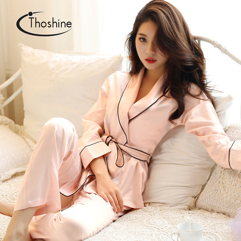 Detail Feedback Questions about Thoshine 2019 Spring Summer Autumn Women  Chinese Satin Silk Pijamas Sets of Sleepcoat   Shorts Female Superior  Casual ... 14c72dcc1