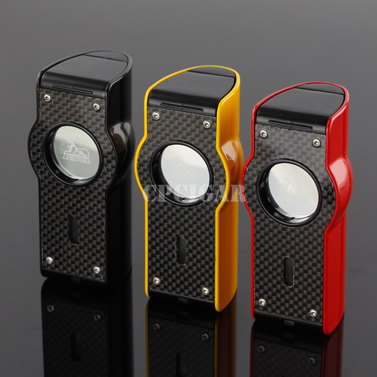 LUBINSKI Watch Style Laser Touch Induction Windproof Red 4 Torch Fire Flame Butane Gas Refillable Table