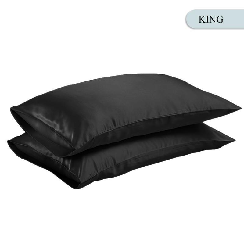Queen/KING Silk Satin Pillow Case Bedding Pillowcase Smooth Home White Black Grey Khaki Sky Blue Pink Sliver 14