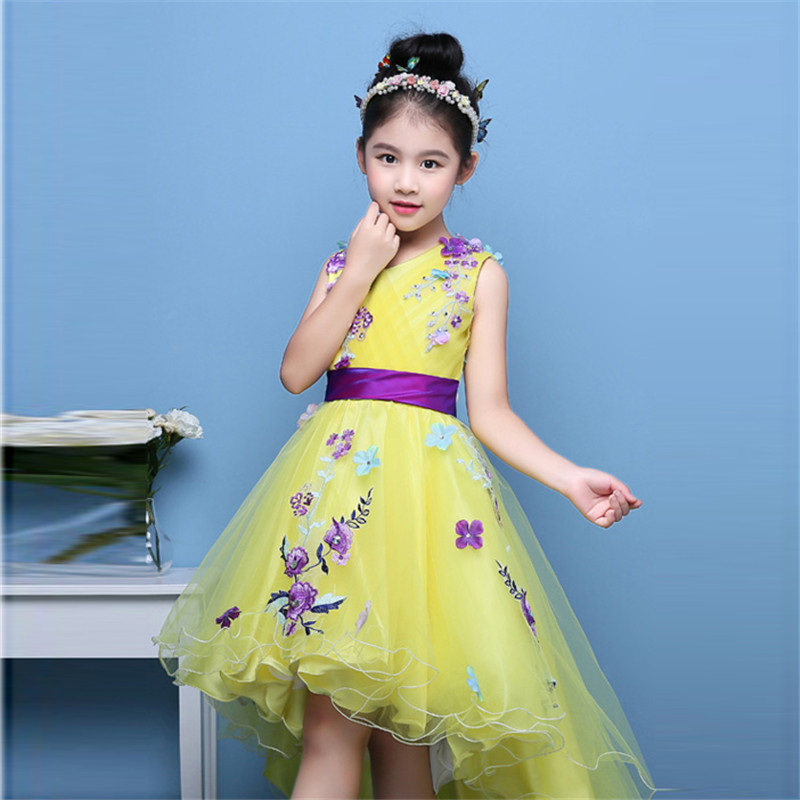 Korean Sweet Flowers Girl Princess Dresses With Tailing Pageant Girl Summer Children 2-14 Years Weddings Party Birthday Dress sweet years sy 6282l 07