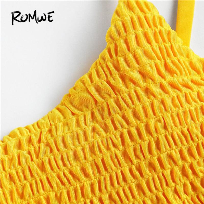 4deff0c87d Romwe Sport Push Up Shirred Bikini Set Yellow Women Swimming Solid Korean  Bathing Suit Swimwear 2018 Sexy Two Piece Bikini Sets-in Bikinis Set from  Sports ...