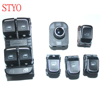 STYO 6pcs Car power window switch + Master Window Switch + Rear Mirror Button +Trunk Switch For A4 B8 A5 Q5