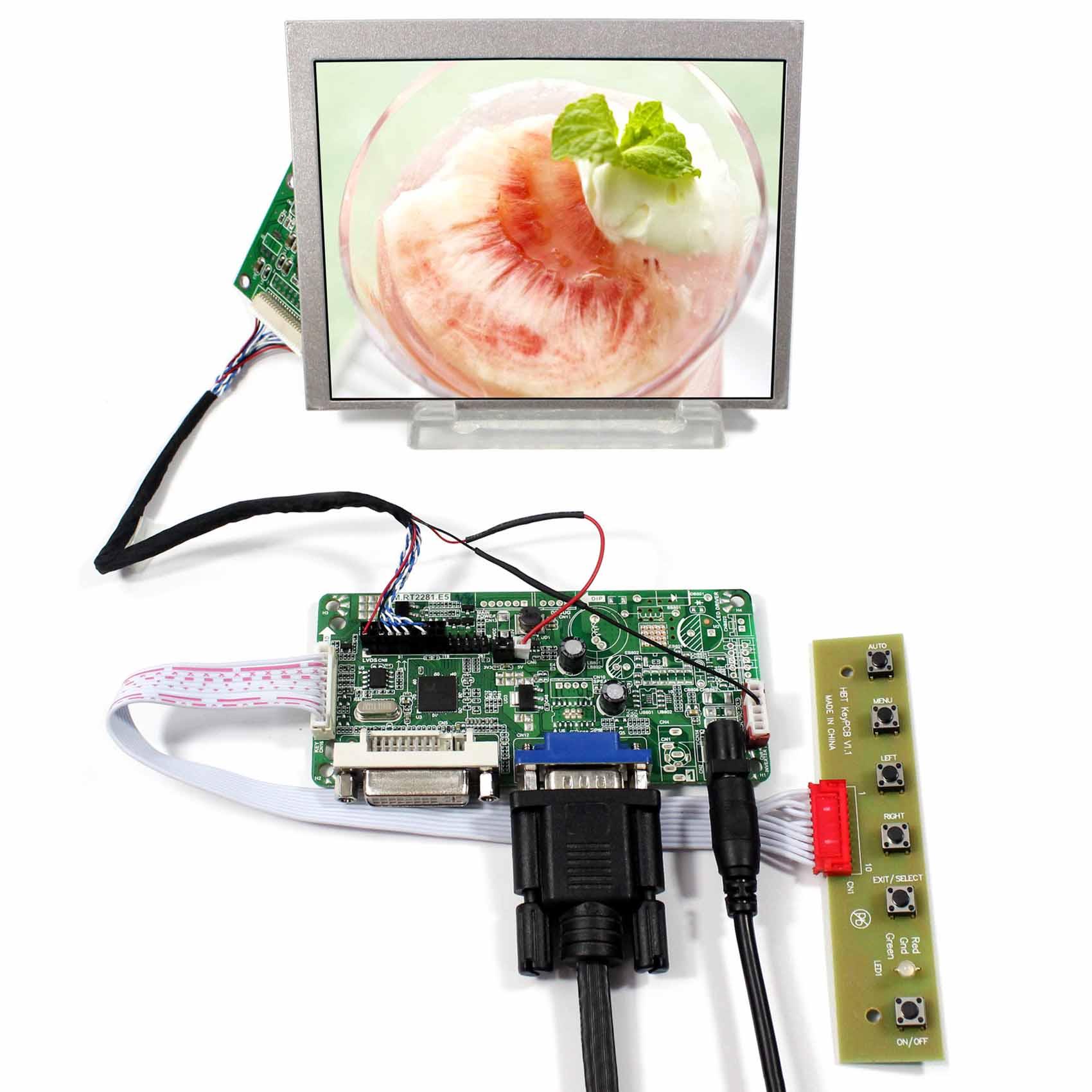 DVI+VGA+LCD Controller Board LVDS Tcon Board With 5.6inch 640X480 AT056TN53-V1 LCD Screen vm70a vga to lvds lcd controller board for mt215dw01 v2 21 5 inch 1920x1080 2ccfl lvds video board free shipping