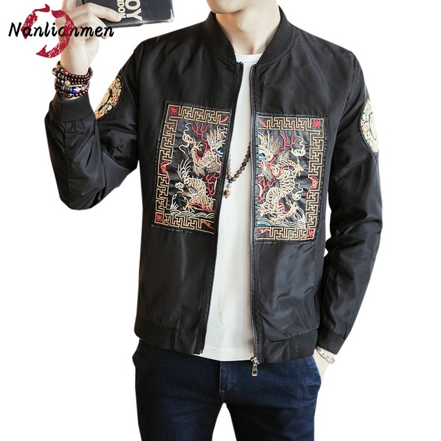 f622f20c8 2017 New Chinese Style Dragon Embroidered Jackets Men veste homme jacket  men's Bomber Jacket Coat Male mens jackets and coats