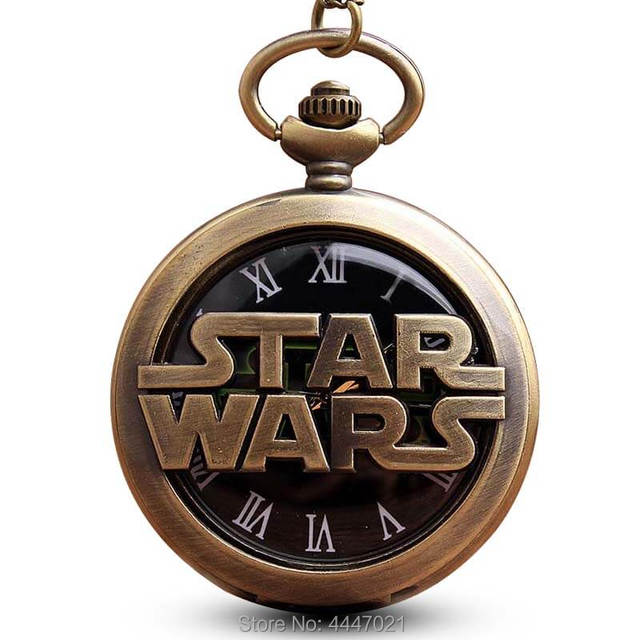 STAR WAR Jedi Order Pocket Watch Chains Necklace Vintage Galactic Empire Hollow