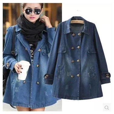 ba830be1d55 Women s fashion medium-long plus size scratches denim jacket outerwear