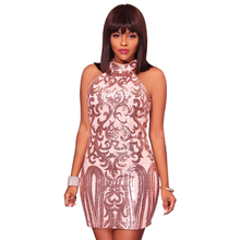 2019 spring new hot sequin dress pink sexy nightclub club party dresses