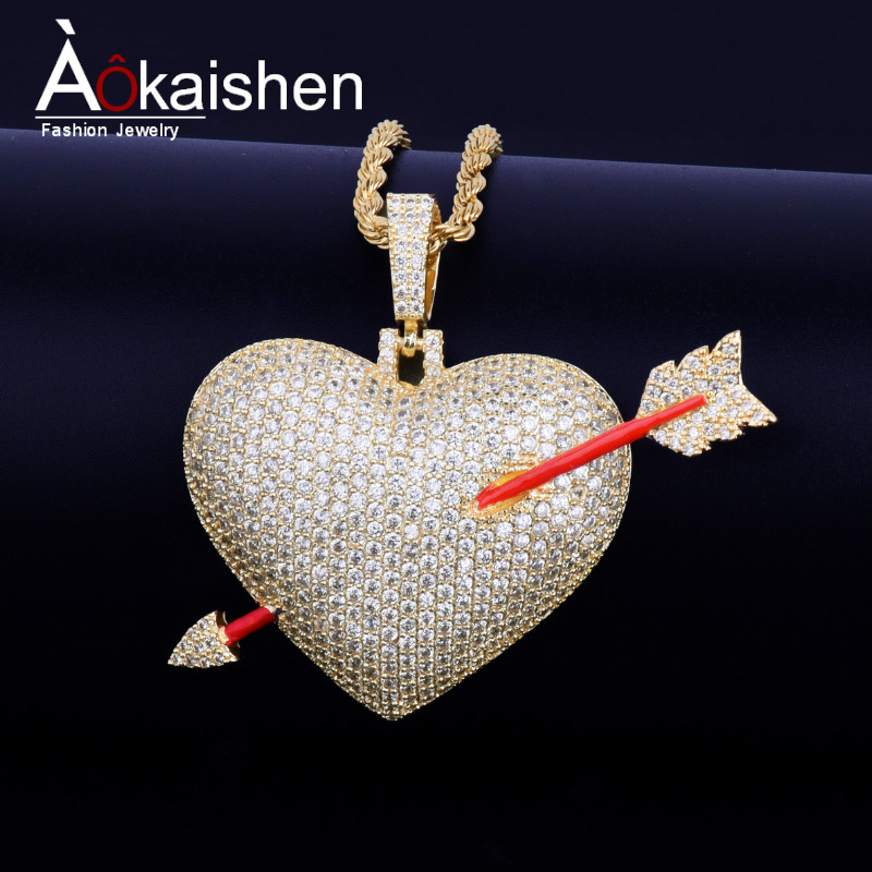 2d0959ba4d00a Aliexpress.com : Buy Iced out Heart Necklace & Pendant With Tennis Chain  Gold Color Bling Cubic Zircon Men's Hip hop Jewelry For Gift from Reliable  ...