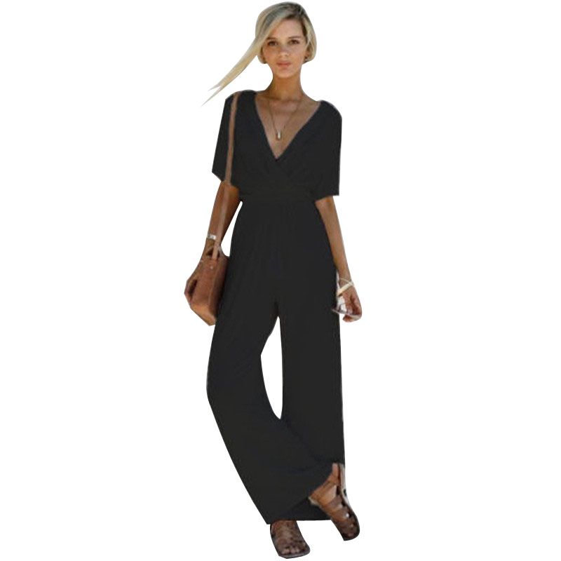 2018 Summer New Women V Neck Clothes Empire Waist Loose Romper Playsuit Party Ladies Short Sleeve Long Jumpsuit Womens Clothes