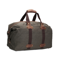 ROCKCOW Vintage Military Canvas Crazy Horse Men Travel Bags Carry On Luggage Bags Men Duffel Bag