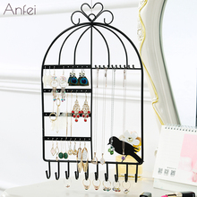 Metal Earrings Organizer Rotating Earring Holder Jewelry Display Necklace Rack Storage Tree Classic A231