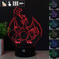 Pokemon Charizard 3D Night Light RGB Changeable Mood Lamp LED Light DC 5V USB Decorative Table Lamp Get a free remote control