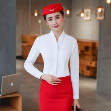 02718e9975b Elegante blanco de moda de manga larga con cuello en V blusas y camisas para  las mujeres de negocios de trabajo mujer blusa de m.