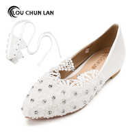 Adults Flats Shoes Wedding Shoes Women Shoes White Lace Pearl Diamond Waterproof Table Bride Round Toe